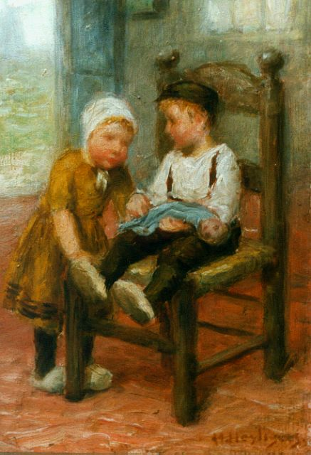 Henri Heijligers | Children playing with a doll, oil on panel, 18.0 x 13.2 cm, signed l.r.