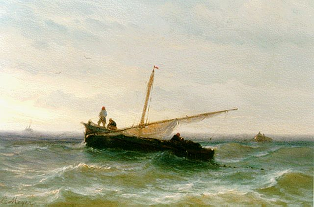 Louis Meijer | A sailing vessel lowering sail, oil on panel, 18.5 x 26.7 cm, signed l.l.