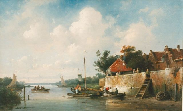 Leickert C.H.J.  | A river landscape in summer, oil on canvas, 28.0 x 43.6 cm, painted circa 1858