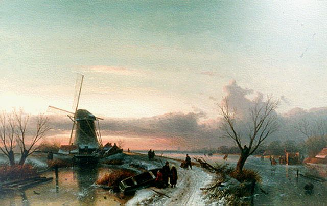 Charles Leickert | A winter landscape by sunset, oil on canvas, 64.1 x 100.0 cm, signed l.r. and dated '69