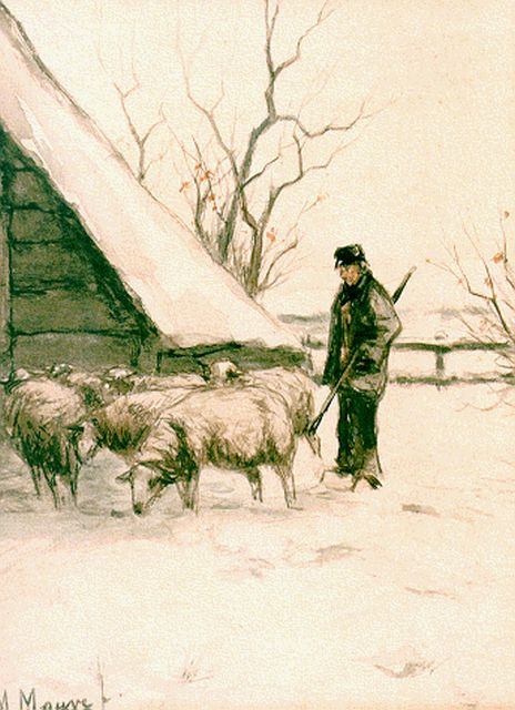 Anton Mauve | A shepherd and flock in a snow-covered landscape, watercolour on paper, 18.0 x 23.3 cm, signed l.l.