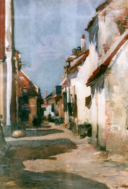 Floris Arntzenius | A sunlit street, Elburg, watercolour on paper, 42.8 x 29.8 cm, signed l.r.