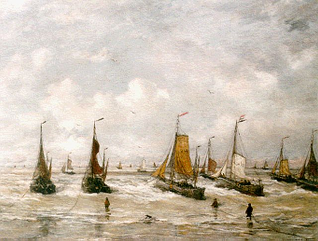 Hendrik Willem Mesdag | 'Bomschuiten' in the surf, oil on canvas, 141.0 x 181.0 cm, signed l.r. and dated 1901