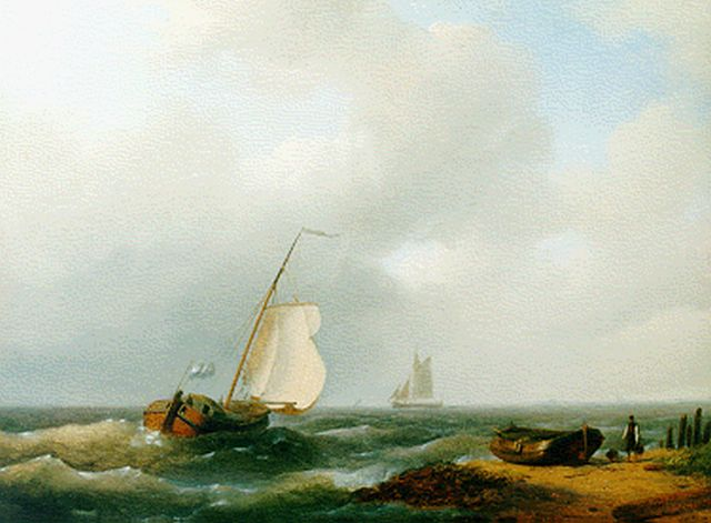 Abraham Hulk | Sailing vessels off the coast, oil on panel, 24.7 x 32.7 cm, signed l.r. and dated 1848