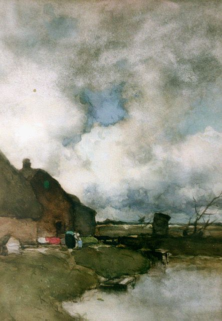 Jan Hendrik Weissenbruch | A farm by Noorden, watercolour on paper, 42.5 x 30.0 cm, signed l.l. and painted circa 1895