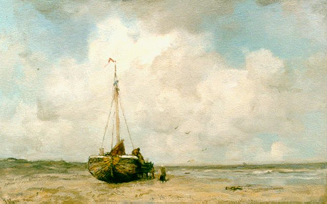 Jacob Maris | 'Bomschuit' on the beach of Scheveningen, oil on canvas, 50.0 x 79.2 cm, signed l.l.