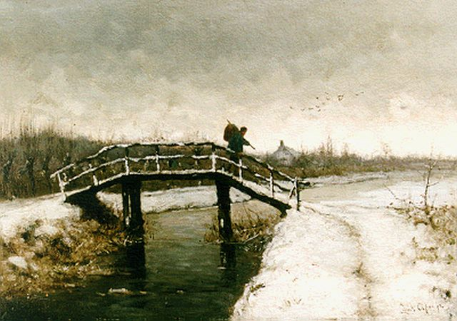 Louis Apol | A traveller on a draw-bridge in a winter landscape, oil on canvas, 35.5 x 50.2 cm, signed l.r. and painted ca. 1880