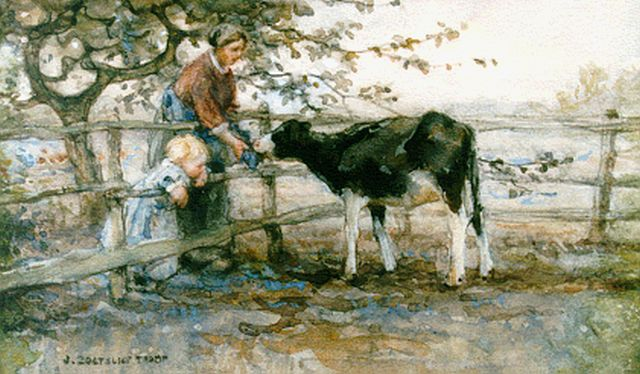 Jan Zoetelief Tromp | Feeding a calf, watercolour and gouache on paper, 18.3 x 28.5 cm, signed l.l.