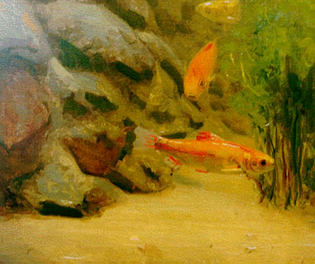 Gerrit Willem Dijsselhof | Goldfish, oil on canvas laid down on panel, 38.1 x 44.4 cm, signed l.r. with monogram
