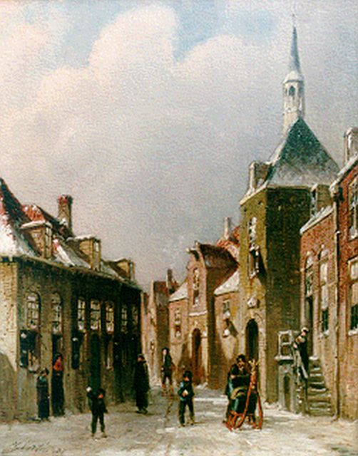 Petrus Gerardus Vertin | Townsfolk in a street in winter, oil on panel, 24.0 x 19.4 cm, signed l.l. and dated '87