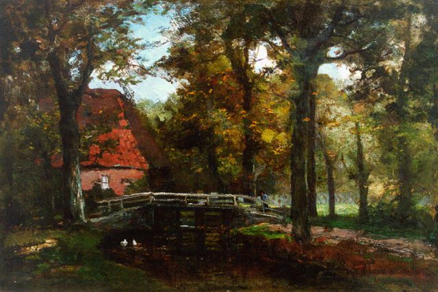 Frits Mondriaan | Farmstead in a wooded landscape, oil on canvas, 29.1 x 44.0 cm, signed l.r.
