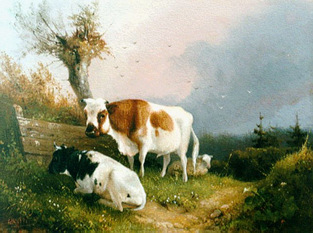 August Knip | Cattle near a willow, oil on panel, 15.0 x 19.8 cm, signed l.l.