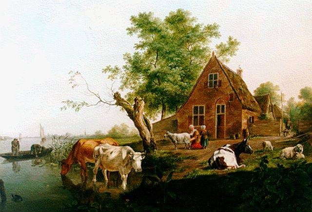 Johannes Janson | Figures and cattle by a farm, oil on panel, 51.0 x 62.4 cm, signed l.l. and dated 1777