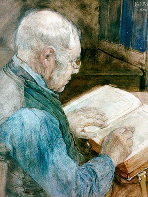 Paul Rink | Reading the bible, watercolour on paper, 63.0 x 47.8 cm, signed u.r. and dated 1899