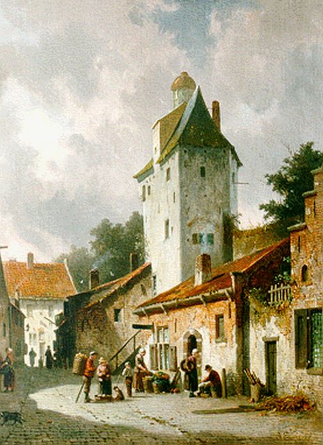 Adrianus Eversen | Daily activities in a Dutch town, oil on canvas, 44.0 x 36.3 cm, signed l.r.