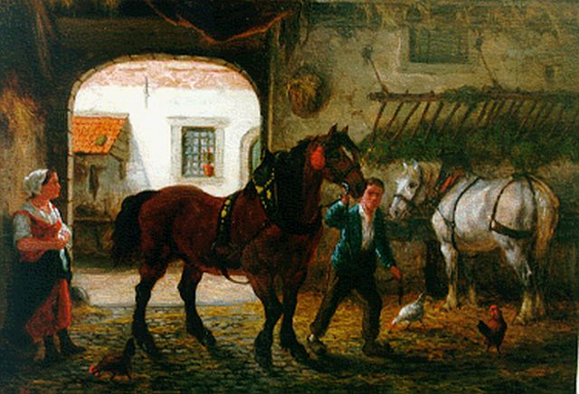 Willem Johan Boogaard | A stable interior, oil on panel, 19.5 x 27.8 cm, signed l.l. and dated 1875