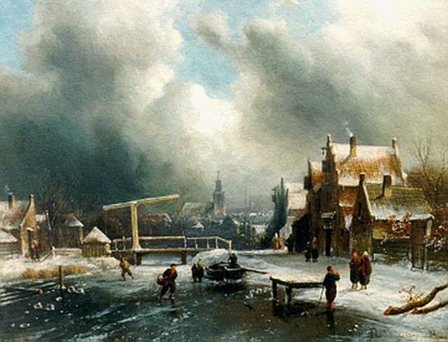 Charles Leickert | A winter landscape with skaters, oil on panel, 26.9 x 35.4 cm, signed l.r.