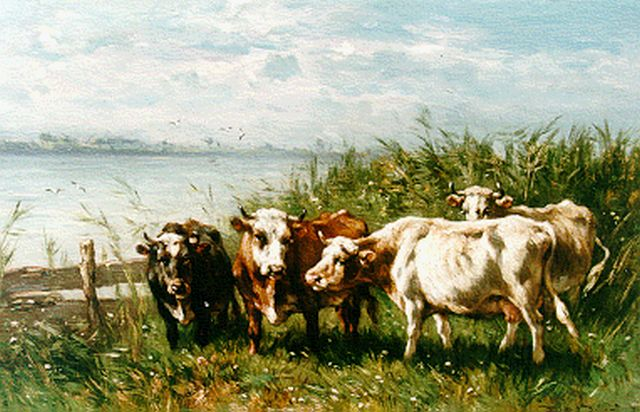 Jan de Haas | Cows on the Riverbank, oil on panel, 30.9 x 46.9 cm, signed l.r.