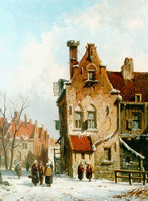 Adrianus Eversen | Dailiy activities in a Dutch town in winter, oil on panel, 18.4 x 13.8 cm, signed l.l. with monogram