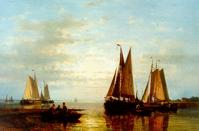 Abraham Hulk | Fishing boats in an estuary, oil on canvas, 30.3 x 45.6 cm, signed l.l.