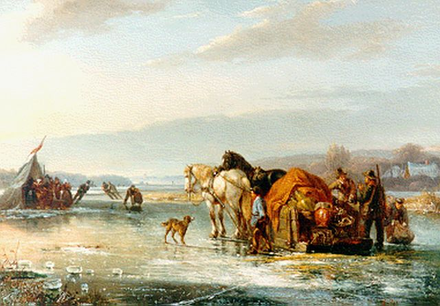 Frans Breuhaus de Groot | A winter landscape with figures on the ice, oil on panel, 27.0 x 37.6 cm, signed l.r.