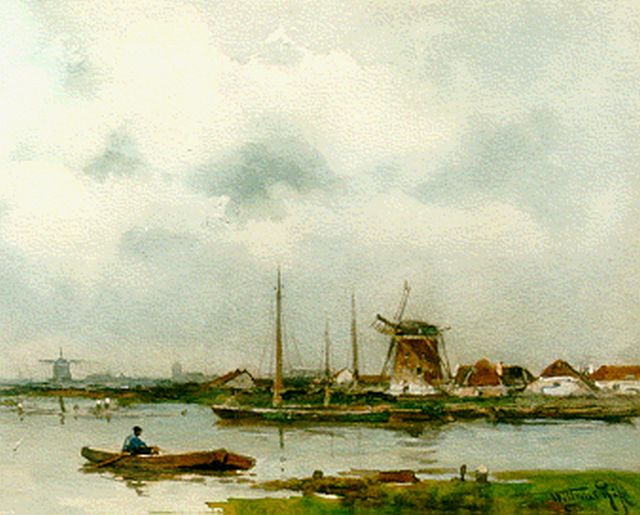 Willem Rip | A polder landscape, watercolour on paper, 23.1 x 33.1 cm, signed l.r.