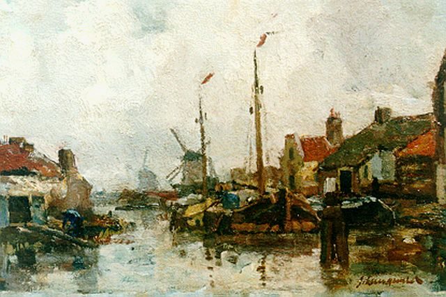 Frans Langeveld | Moored boats, Gouda, oil on canvas, 24.8 x 32.5 cm, signed l.r.