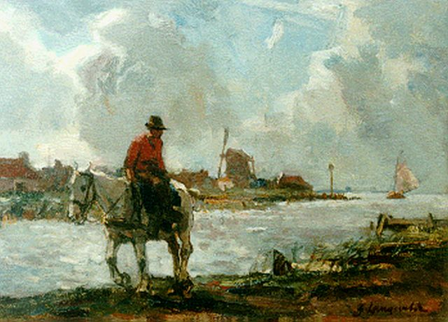 Frans Langeveld | Harbour scene near Utrecht, oil on canvas, 24.1 x 32.2 cm, signed l.r.