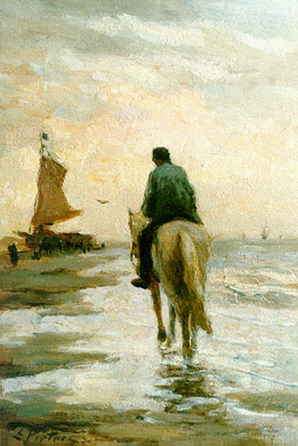 Evert Pieters | A horseman on the beach, Katwijk, oil on panel, 30.0 x 20.5 cm, signed l.l.