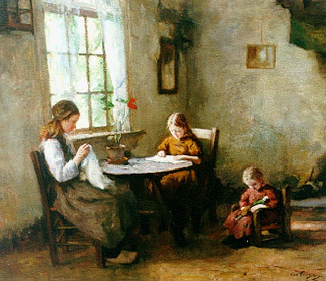 Lammert van der Tonge | Interior with children, oil on canvas, 60.0 x 70.3 cm, signed l.r.