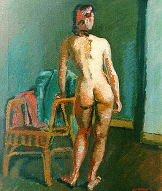 Wiegers J.  | A female nude, oil on canvas, 70.3 x 60.3 cm, signed l.r. and dated '41