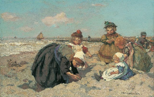Johannes Evert Hendrik Akkeringa | Children playing on the beach, oil on panel, 27.0 x 42.3 cm, signed l.r.