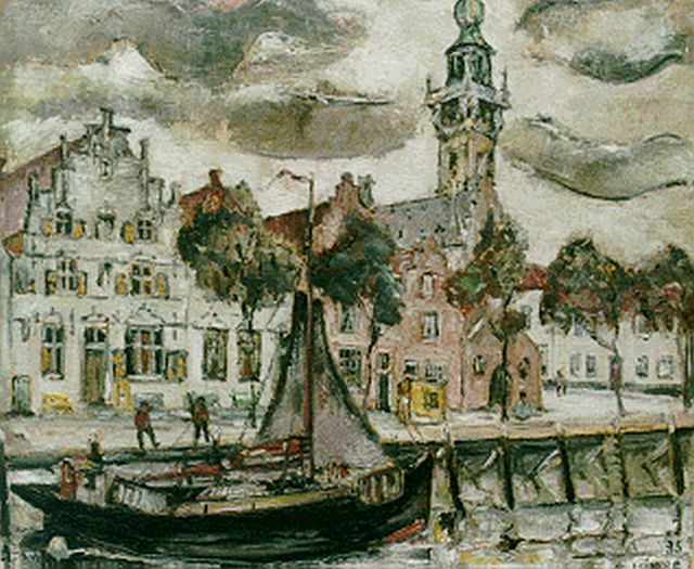 Reimond Kimpe | A view of the harbour of Veere, oil on canvas, 60.0 x 71.0 cm, signed l.r. and dated '35