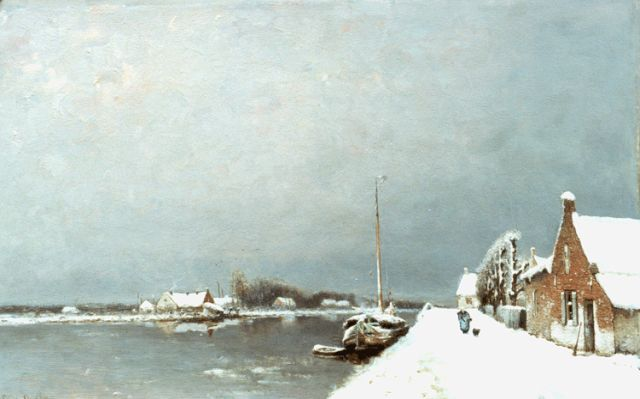 Louis Apol | A landscape with canal in winter, oil on panel, 52.5 x 88.3 cm, signed signed l.l.