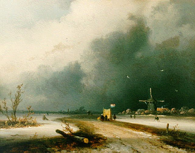 Johannes Franciscus Hoppenbrouwers | Upcoming storm, oil on panel, 14.7 x 18.8 cm, signed l.r.