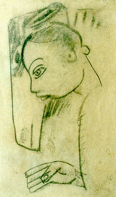 Herman Kruyder | A girl with a horse, charcoal on paper, 17.0 x 10.2 cm, signed l.r.