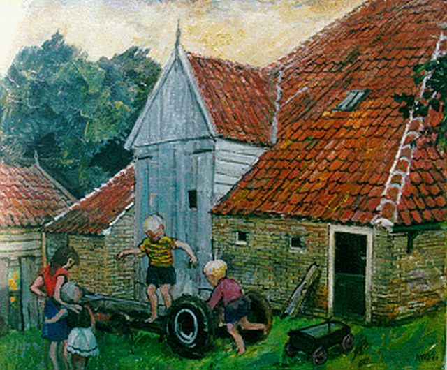 Harm Kamerlingh Onnes | Children playing on a yard, Terschelling, oil on canvas, 50.3 x 60.2 cm, signed l.r. with monogram and dated '60
