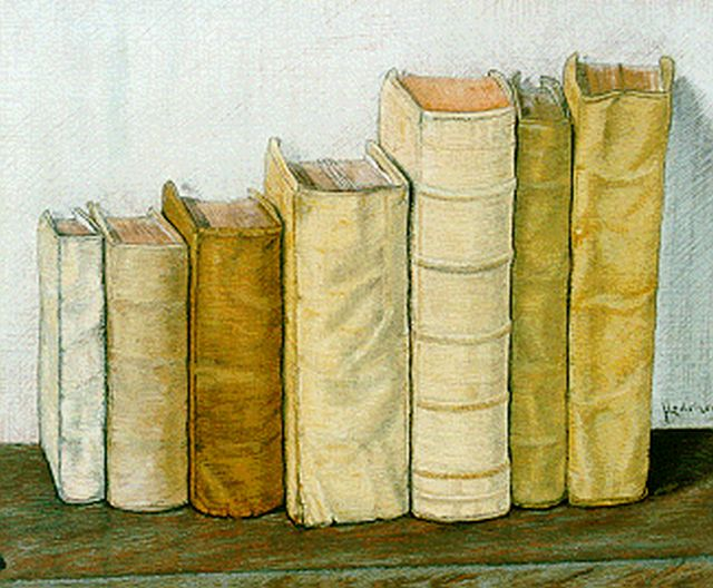 Jo Lodeizen | A still life with books, 40.2 x 49.2 cm, signed l.r.