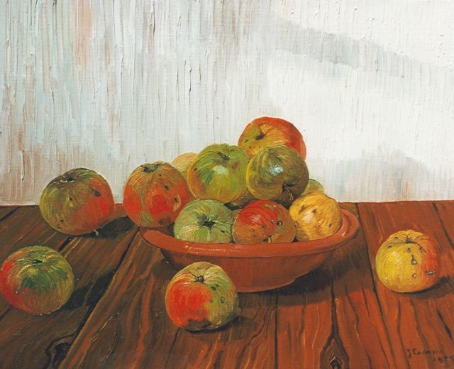 Jo Lodeizen | Still life with apples on an oak table, oil on canvas, 40.0 x 50.3 cm, signed l.r. and dated 1925