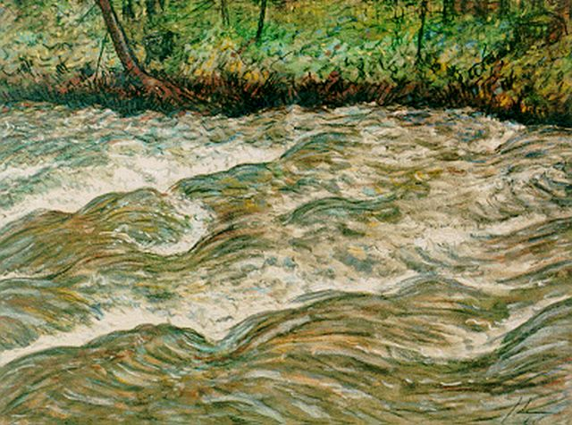 Jo Lodeizen | A river, pastel on paper, 47.5 x 60.5 cm, signed l.r. with monogram and dated '64