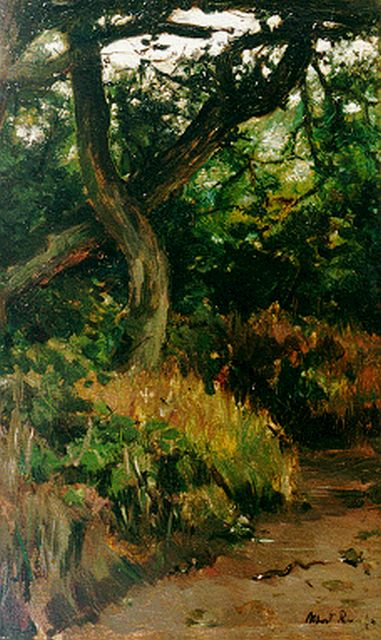 Albert Roelofs | A forest landscape, oil on panel, 39.9 x 25.4 cm, signed l.r.