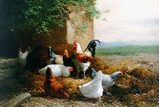 Eugène Remy Maes | A rooster and hens, oil on panel, 16.6 x 24.0 cm, signed l.r. and dated 1866 l.l.