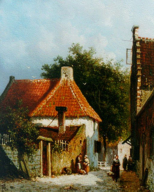 Adrianus Eversen | A sunlit street in Amsterdam, oil on panel, 18.8 x 15.2 cm, signed l.l. with monogram