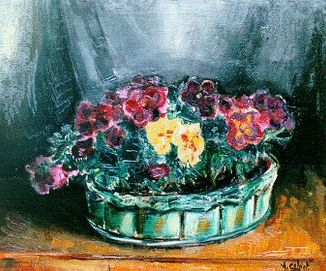 Arnout Colnot | Violets in a green basket, oil on canvas, 50.0 x 60.0 cm, signed l.r.