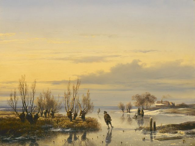 Cornelis Lieste | Skaters on the ice by sunset, oil on panel, 30.0 x 40.0 cm, signed l.l.