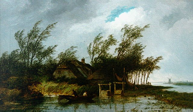 Josephus Gerardus Hans | A farm along a river, oil on canvas, 59.8 x 100.0 cm, signed l.r. and dated 1887