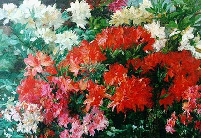 Jan Visser jr. | Flowering rhododendrons, oil on canvas, 61.6 x 87.8 cm, signed u.r.