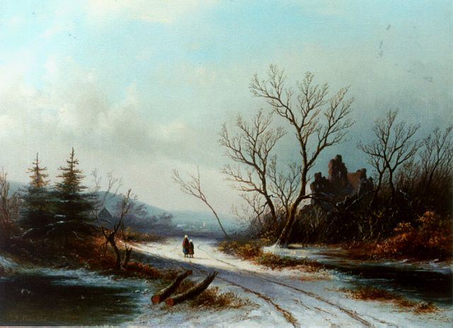 Jan Jacob Spohler | Travellers on a path in a winter landscape, oil on canvas, 36.2 x 50.2 cm, signed l.l. and painted circa 1865
