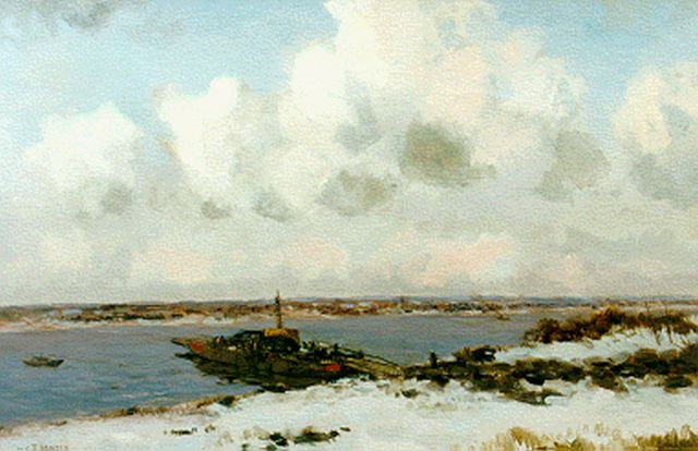 Willem George Frederik Jansen | A ferry in winter, oil on canvas, 60.5 x 90.5 cm, signed u.l.