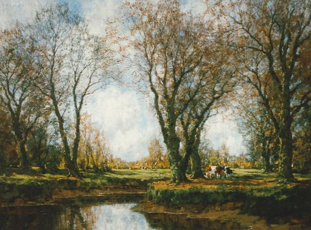 Arnold Marc Gorter | Autumn along the Vordense beek: 'Sunlight and shadow', oil on canvas, 75.5 x 100.0 cm, signed l.r.